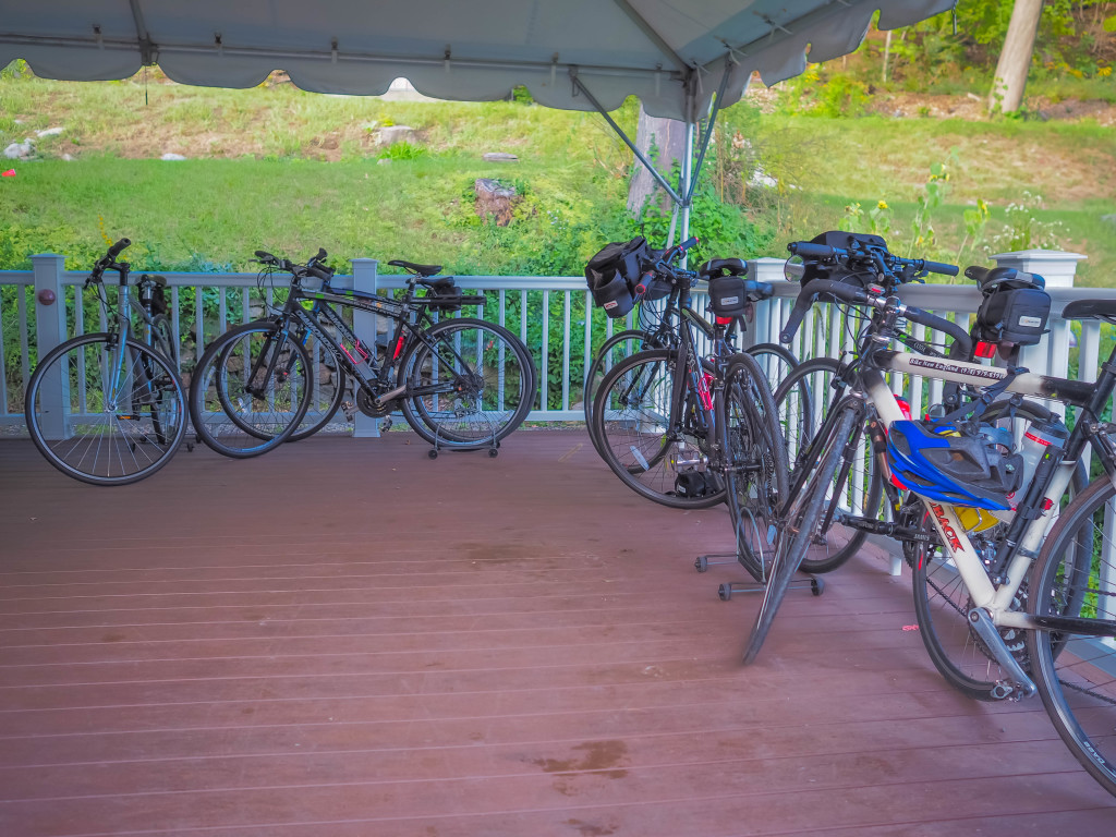 Bike corral, we rented hybrid bikes but many brought their own.